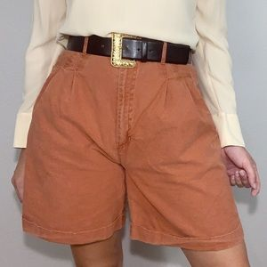 Vintage Pleated Shorts High Waisted Mom Shorts